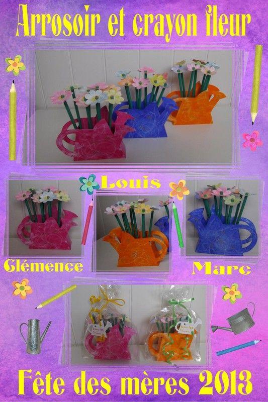 Boîte arrosoir et crayon fleur